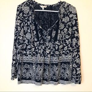 Lucky Brand Boho Floral Peasant Blouse